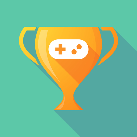 game pad: Illustration of a trophy icon with a game pad Illustration
