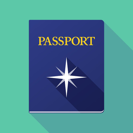 citizenship: Illustration of a long shadow passport with a sparkle