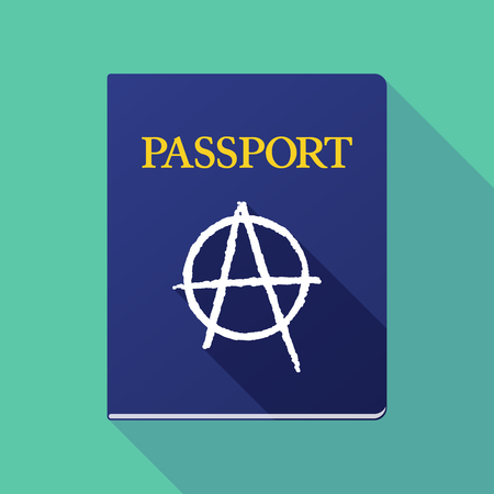 social movement: Illustration of a long shadow passport with an anarchy sign