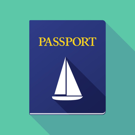 emigration: Illustration of a long shadow passport with a ship Illustration