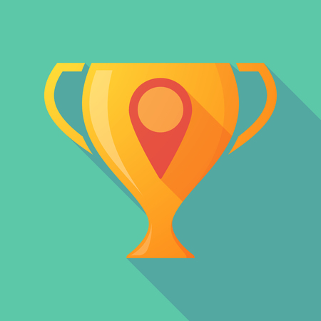 winning location: Illustration of a trophy icon with a map mark