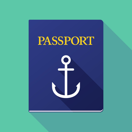 nautic: Illustration of a long shadow passport with an anchor