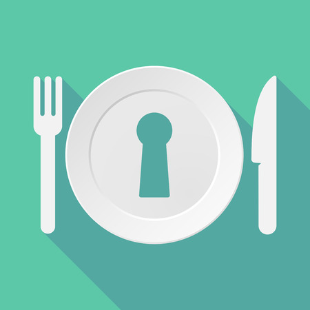 key hole: Long shadow tableware vector illustration with a key hole