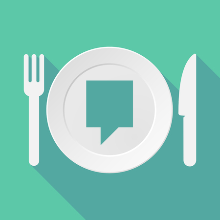 tooltip: Long shadow tableware vector illustration with a tooltip
