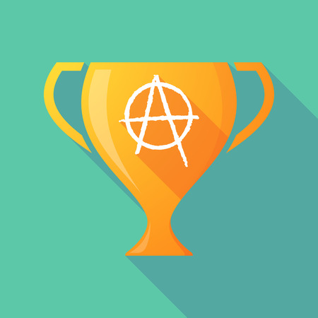 social movement: Illustration of a trophy icon with an anarchy sign Illustration