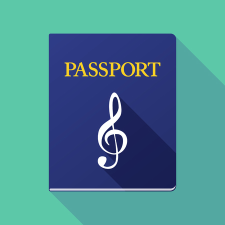 treble g clef: Illustration of a long shadow passport with a g clef Illustration