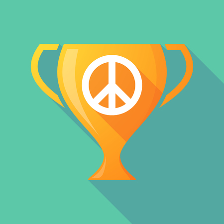 pacifist: Illustration of a trophy icon with a peace sign