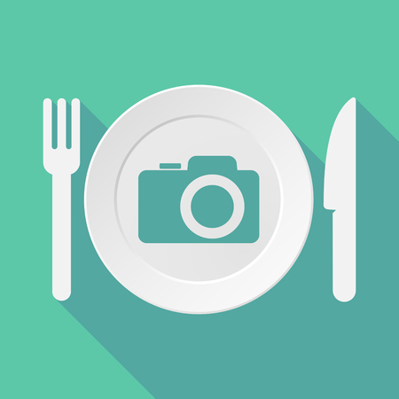 plate camera: Long shadow tableware vector illustration with a photo camera Illustration