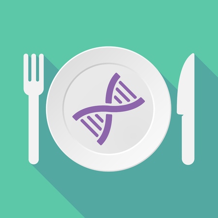 transgenic: Long shadow tableware vector illustration with a DNA sign