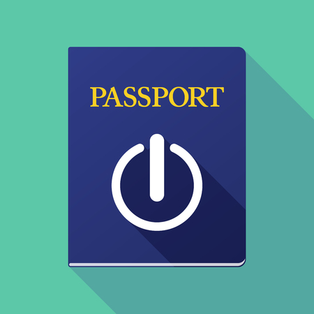 on off button: Illustration of a long shadow passport with an off button