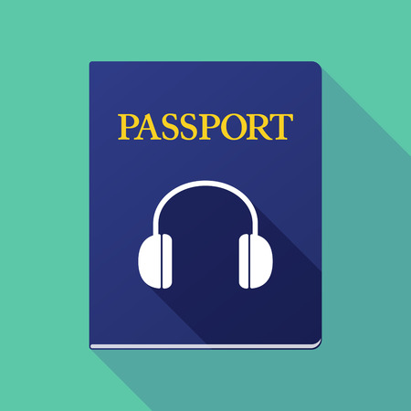emigration: Illustration of a long shadow passport with a earphones Illustration
