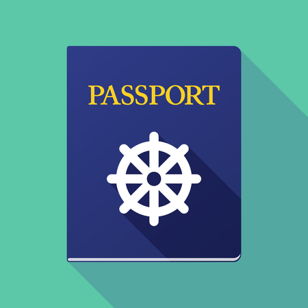 Illustration of a long shadow passport with a dharma chakra sign