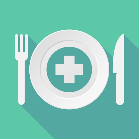pharmacy sign: Long shadow tableware vector illustration with a round pharmacy sign