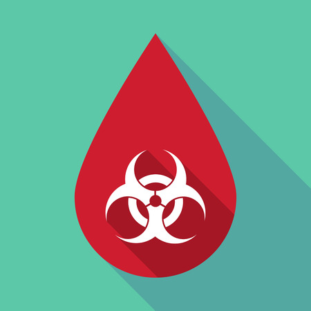 riesgo biologico: Ilustración de una gota de sangre larga sombra con una señal de peligro biológico