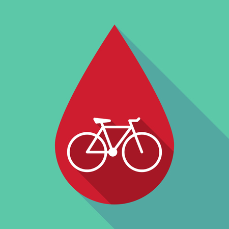 medicine wheel: Illustration of a long shadow blood drop with a bicycle Illustration