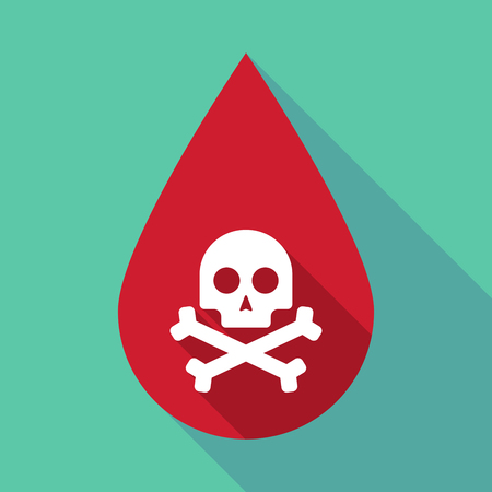 health threat: Illustration of a long shadow blood drop with a skull