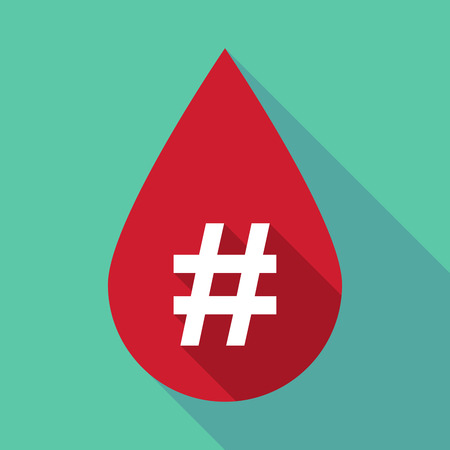 hash: Illustration of a long shadow blood drop with a hash tag Illustration