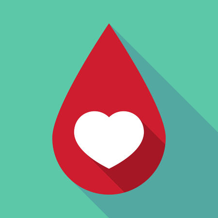 seduction: Illustration of a long shadow blood drop with a heart Illustration
