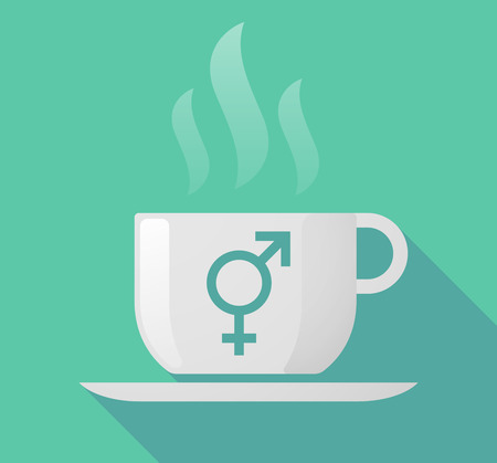 homosexual sex: Illustration of a long shadow cup of coffee with  a bigender symbol