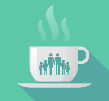 large family: Illustration of a long shadow cup of coffee with  a large family  pictogram