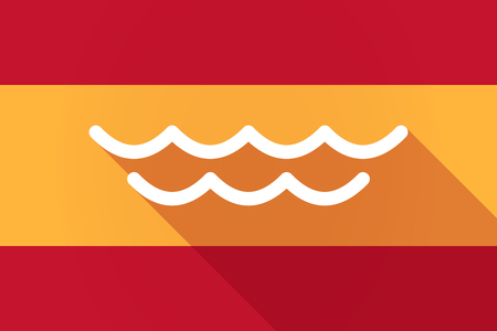 liquid state: Illustration of a Spain  long shadow flag with a water sign Illustration
