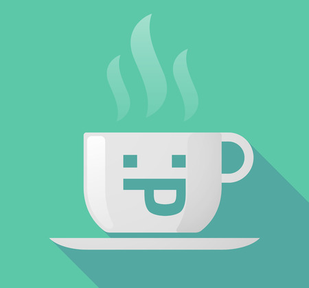 long tongue: Illustration of a long shadow cup of coffee with  a sticking out tongue text face