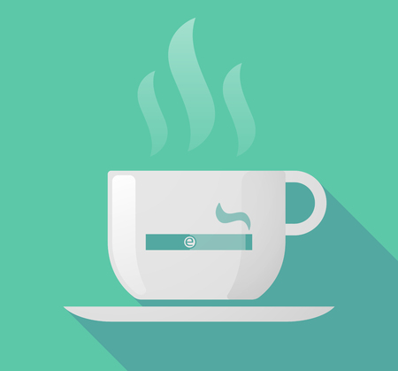 e cigarette: Illustration of a long shadow cup of coffee with  an electronic cigarette