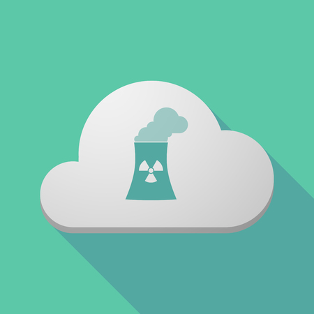 nuclear power station: Illustration of a long shadow cloud icon with a nuclear power station