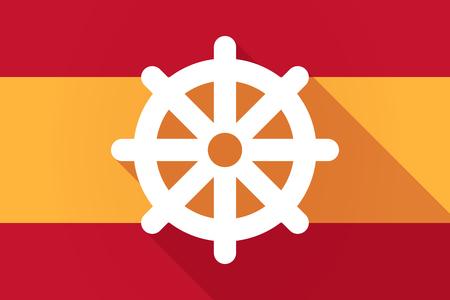 dharma: Illustration of a Spain  long shadow flag with a dharma chakra sign