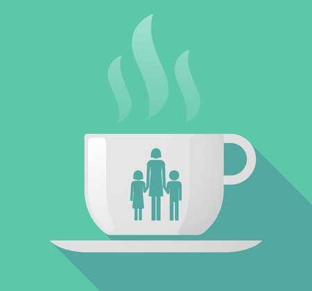 single family: Illustration of a long shadow cup of coffee with  a female single parent family pictogram