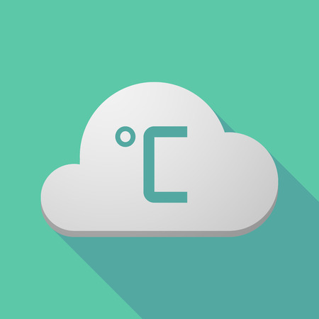 celsius: Illustration of a long shadow cloud icon with  a celsius degree sign Illustration