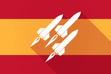 missiles: Illustration of a Spain  long shadow flag with missiles