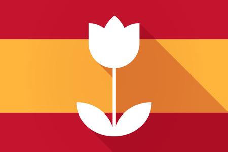 Illustration of a Spain  long shadow flag with a tulip