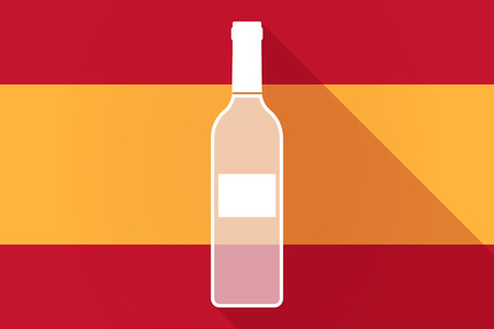 Illustration of a Spain  long shadow flag with a bottle of wine