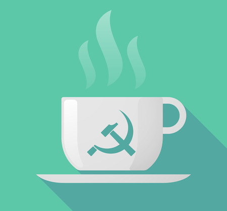 communist: Illustration of a long shadow cup of coffee with   the communist symbol Illustration