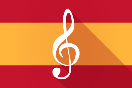 g clef: Illustration of a Spain  long shadow flag with a g clef