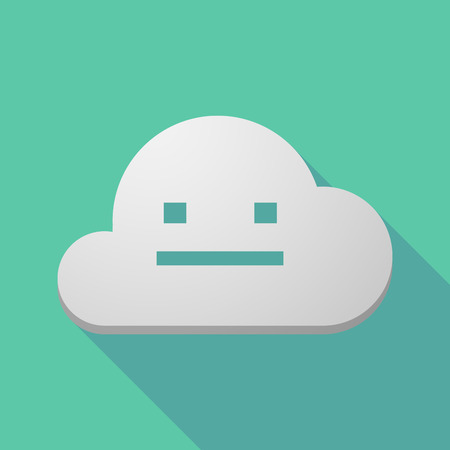 emotionless: Illustration of a long shadow cloud icon with a emotionless text face