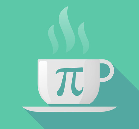 constant: Illustration of a long shadow cup of coffee with  the number pi symbol Illustration