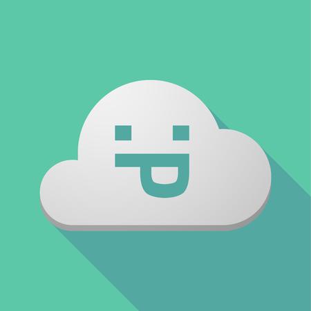 sacar la lengua: Ilustración de un icono de la nube larga sombra con una cara de texto lengua fuera
