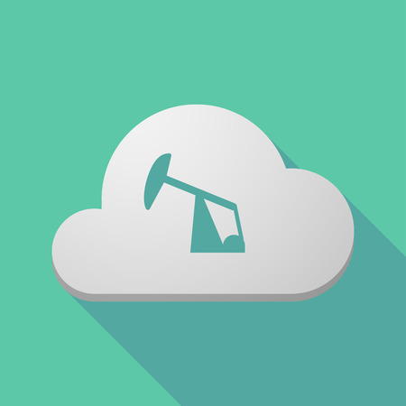 fuel rod: Illustration of a long shadow cloud icon with a horsehead pump