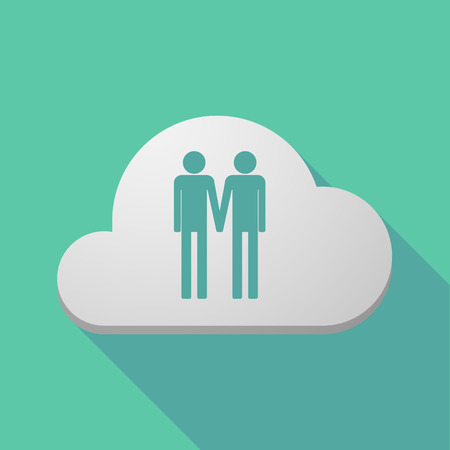 homosexuality: Illustration of a long shadow cloud icon with a gay couple pictogram