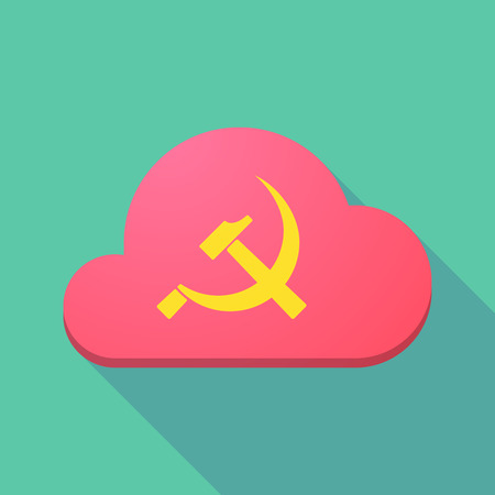 socialist: Illustration of a long shadow cloud icon with  the communist symbol Illustration