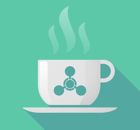 chemical weapon sign: Illustration of a long shadow cup of coffee with  a chemical weapon sign Illustration