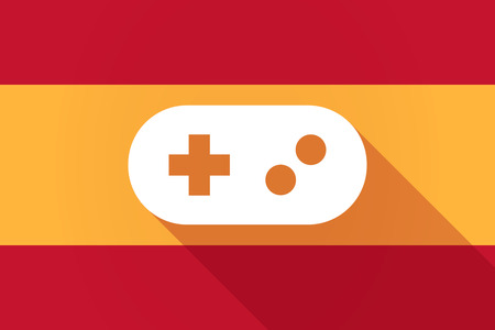 game pad: Illustration of a Spain  long shadow flag with a game pad