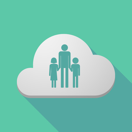 single parent: Illustration of a long shadow cloud icon with a male single parent family pictogram Illustration