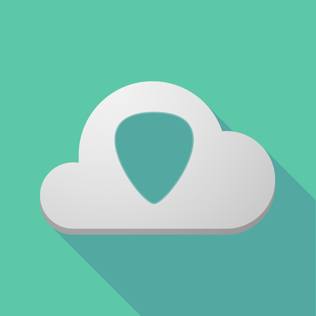 plectrum: Illustration of a long shadow cloud icon with a plectrum