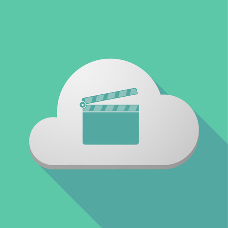 Illustration of a long shadow cloud icon with a clapperboard Illustration