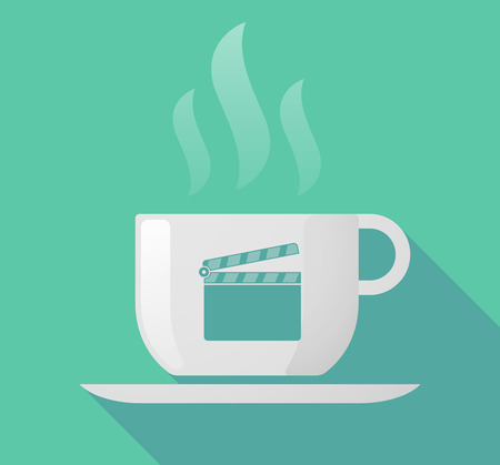 Illustration of a long shadow cup of coffee with  a clapperboard
