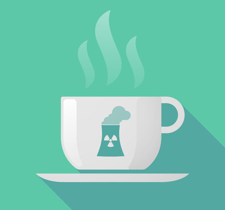 nuclear power station: Illustration of a long shadow cup of coffee with  a nuclear power station Illustration