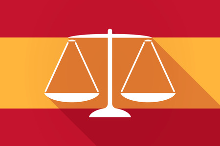 tribunal: Illustration of a Spain  long shadow flag with a justice weight scale sign Illustration